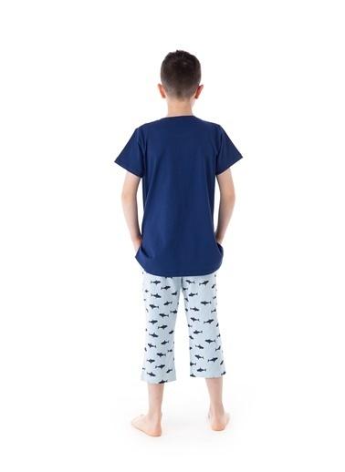 Pamuk & Pamuk Desenli Genç Erkek Bermuda Pijama Takım Renkli